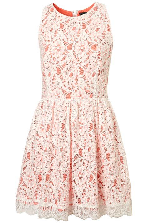 Top Shoo lyst topshop lace racer skirted dress in pink