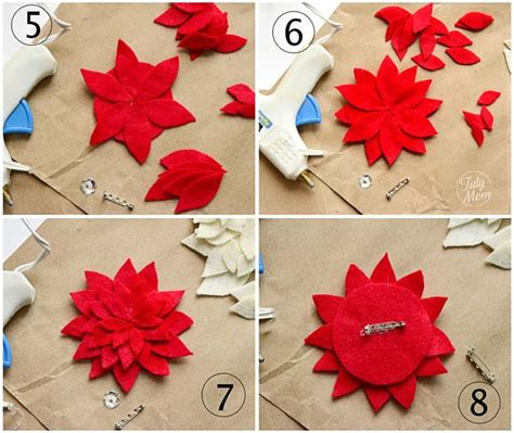 How To Make Paper Poinsettia Flowers - felt flower tutorial how to make a poinsettia tidymom
