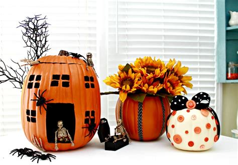 pumpkin decorating ideas using foam pumpkins funkins mom 4 real