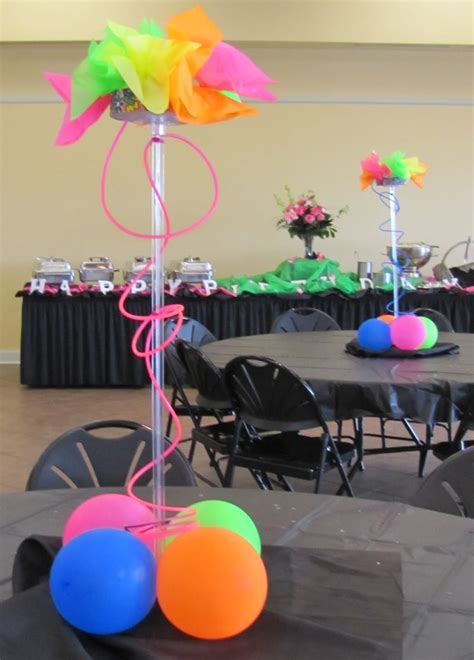 neon centerpiece ideas event decorating company peggy brown