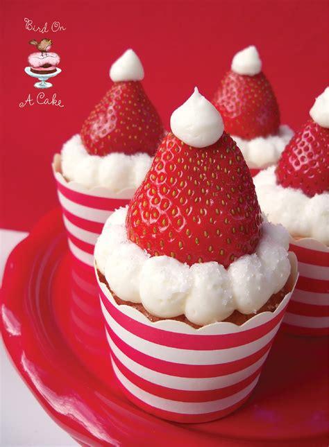 bird on a cake strawberry santa hat cupcakes