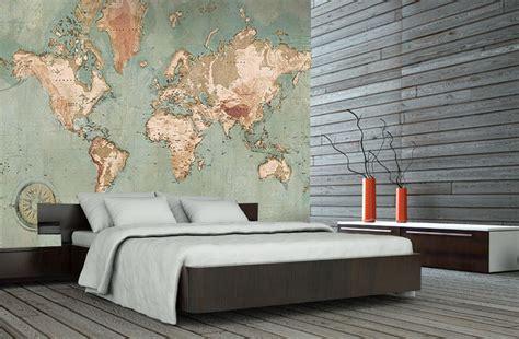 Map Of The World Wall Mural poster mappemonde vintage carte du monde g 233 ante
