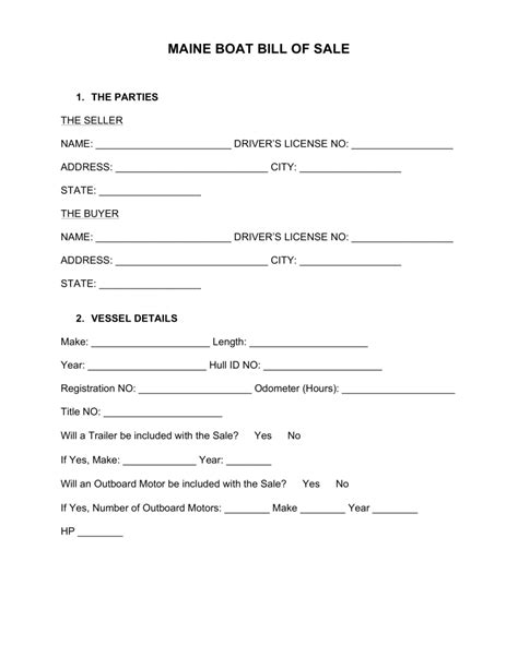 bill of sale template maine free maine boat bill of sale form word pdf eforms