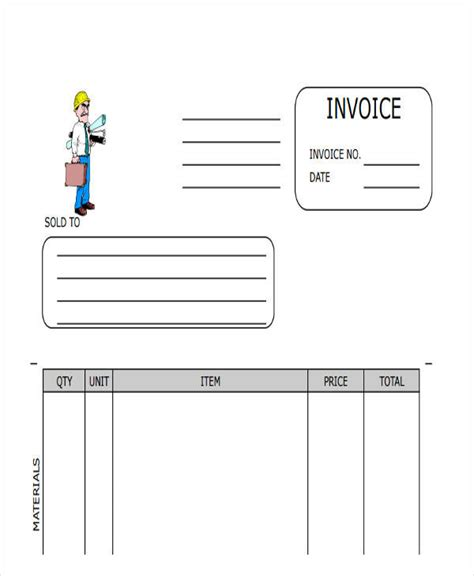 sample contractor invoices word  excel