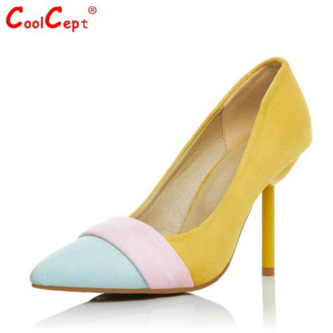 Mixed Maretial Pointed Toe Shoes thin high heel shoes mixed color pupms fashion pointed toe footwear high