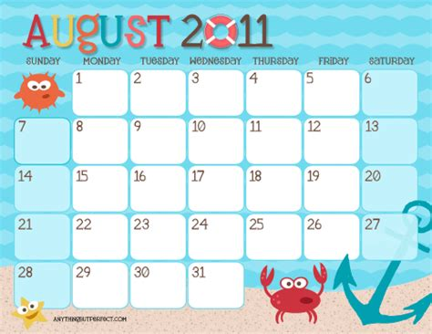 be different act normal free printable summer calendars