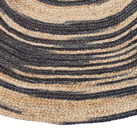 Rugs Braided by Hk Living Tapis Rond Toile De Jute Naturel Noir 216 200cm