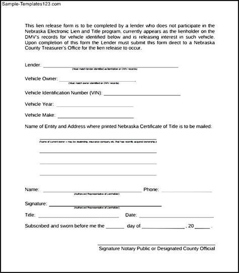 lien waiver form template sle lien release form sle templates sle templates