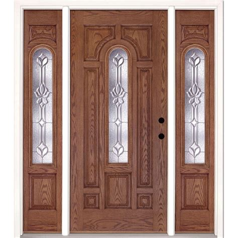 Feather River Doors 63 5 In X81 625 In Medina Zinc Center Front Entry Doors With Sidelites