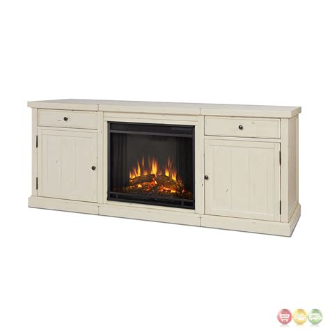 Entertainment Center With Electric Fireplace Cassidy Entertainment Center Electric Fireplace In Distressed White 69x28