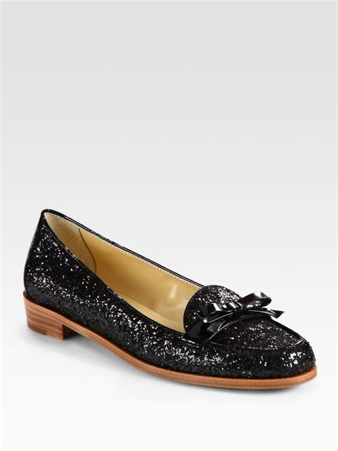 kate spade loafers kate spade cora glitter coated patent leather and metallic