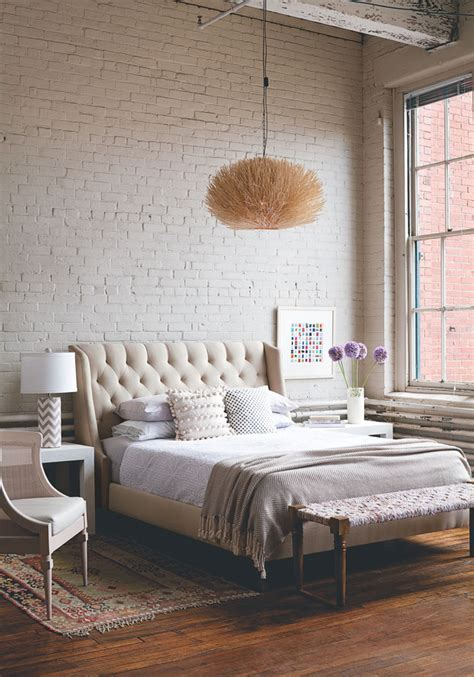 industrial chic bedroom soft industrial chic with brick effect wallpaper lobster