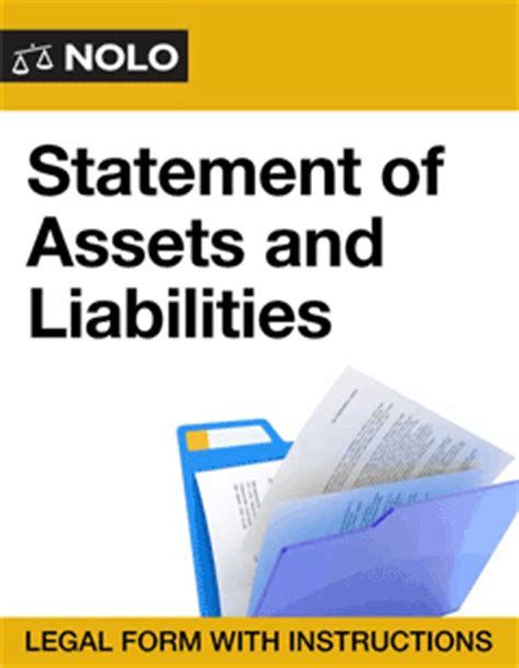 Asset And Liabilities Search Statement Of Assets And Liabilities Financial Accounting Forms Nolo