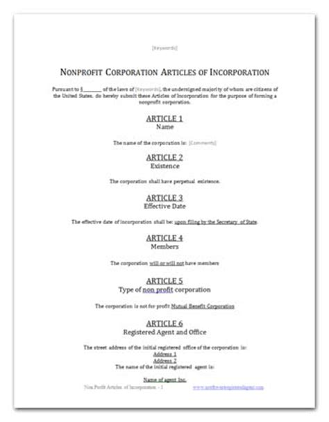 Free Nonprofit Bylaws Template by Free California Benefit Articles Of Incorporation