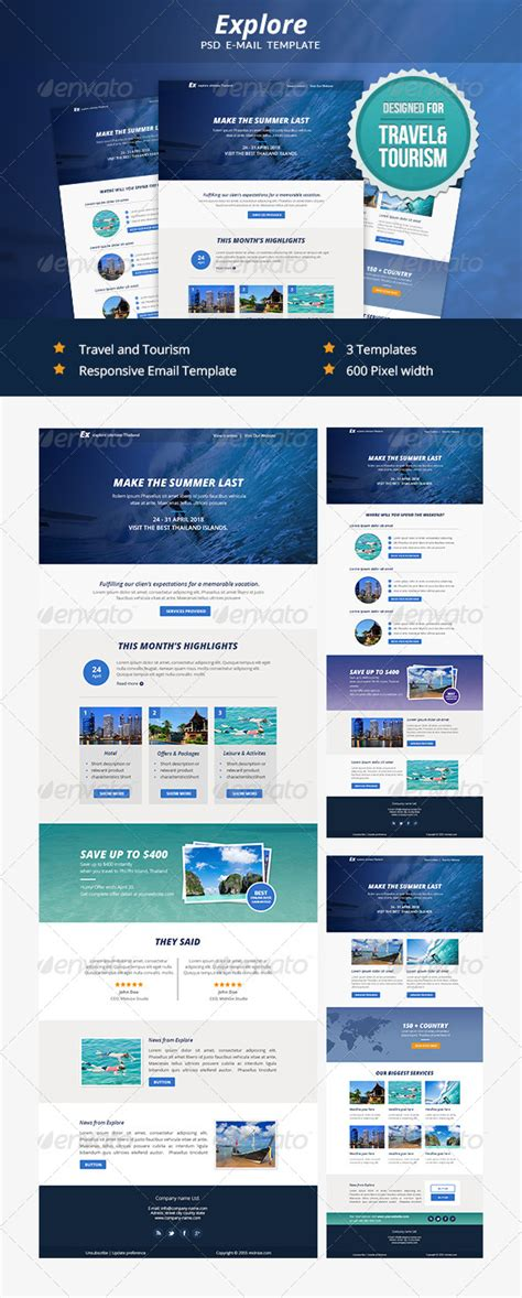 explore travel psd email newsletter template by