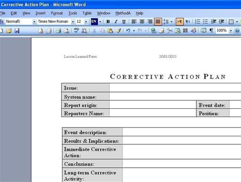 Shareware Corrective Action Plan At Download Collection Com Corrective Plan Template