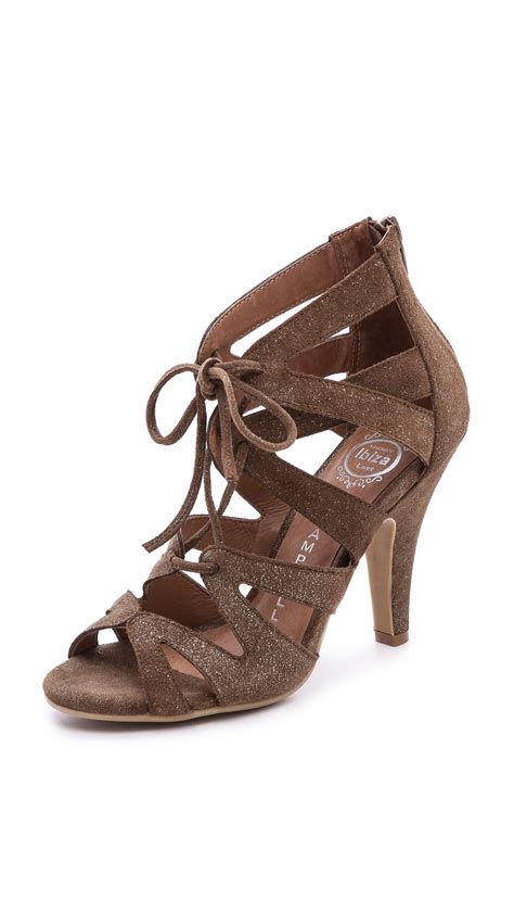 sandals lace up lyst jeffrey cbell laramie lace up sandals brown in brown