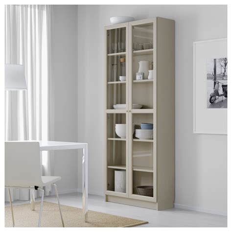 Billy Bookcase With Doors Beige 80x30x202 Cm Ikea Ikea Bookcases With Glass Doors