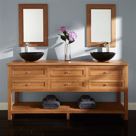 thayer bamboo double vessel sink vanity bathroom