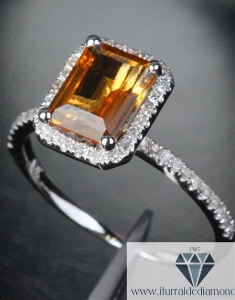 emerald cut citrine pave halo engagement ring