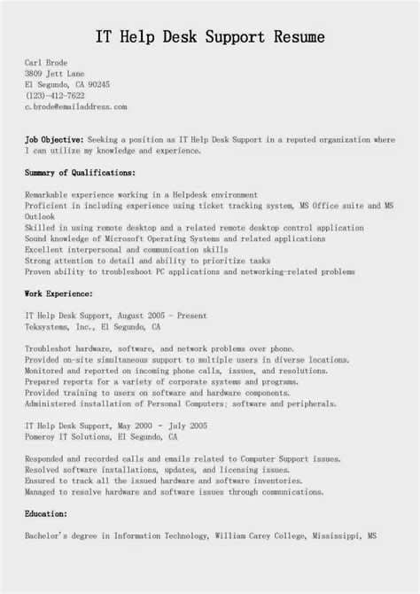 It Help Desk Resume by Resume Sles It Help Desk Support Resume Sle