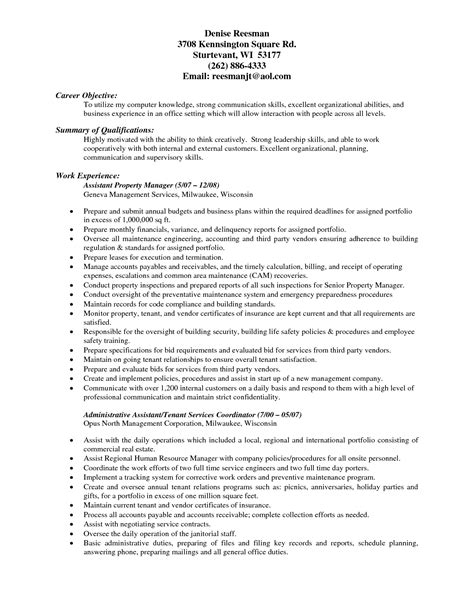 Management For Resume by Management Resume Summary Resume Ideas