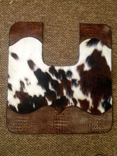 cowhide bathroom rugs cowhide and leather bath toilet contour mat