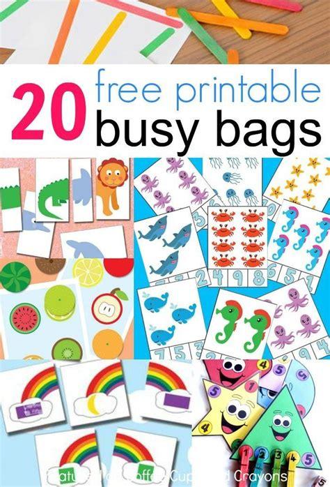 Printable Toddler Busy Bags | 20 free printable busy bags preschool freebies