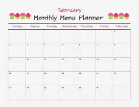 monthly menu calendar template monthly menu calendar template