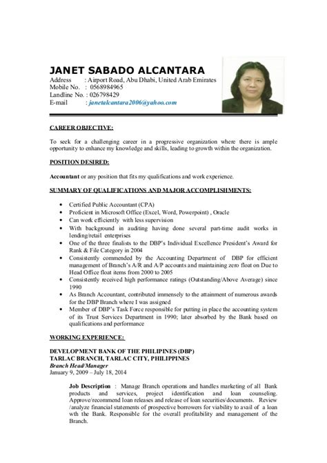 Detailed Resume Detailed Resume Janet Accountant