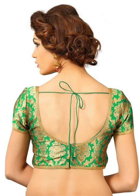 Buy Green embroidred Brocade readymade blouse Online