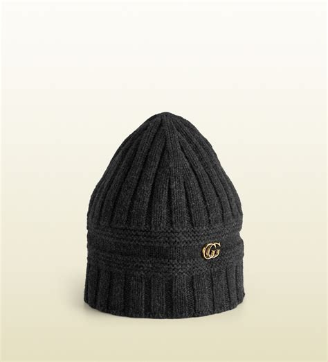 gucci knit hat lyst gucci knit hat with g detail in gray for