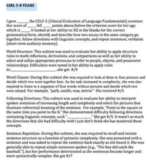 celf preschool 2 sle report 28 celf 4 sle report clinical evaluation of