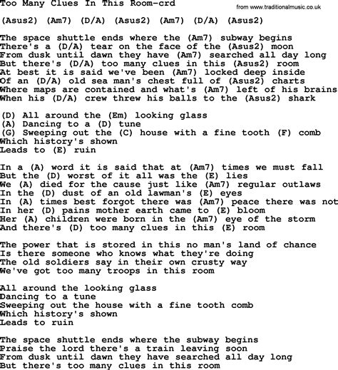 lyrics to white room many clues in this room by gordon lightfoot lyrics and chords