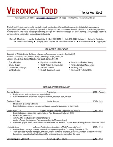 Resume Interior Designer Pdf Todd Interior Architect Resume