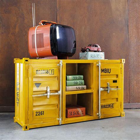 Meuble Container by Meuble Tv Container En M 233 Tal Jaune L 129 Cm Industrial