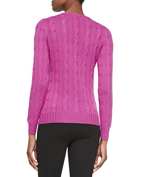 pink cable knit sweater ralph black label cable knit sweater in