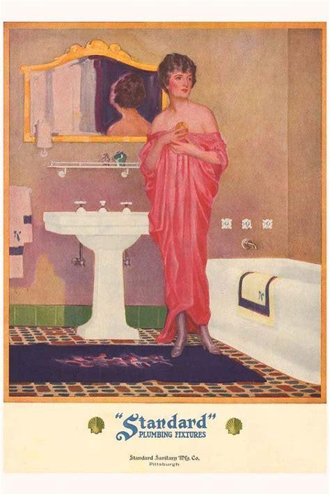 Vintage Bathroom Posters Vintage 1920s Deco Pink Dress Flapper Bathroom Bath