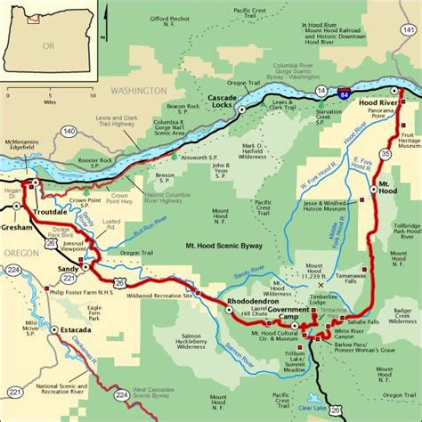americas byways mt hood scenic byway map america s byways cing