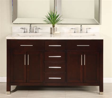 Bathroom Dual Sink Vanity 60 inch sink modern cherry bathroom vanity with choice of counter top uveimo60