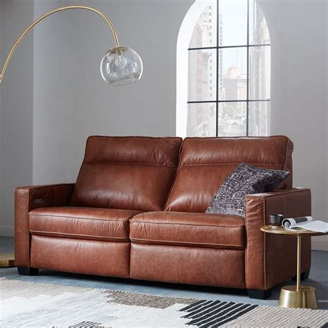 west elm reclining sofa reclining sofa leather cindy crawford home gianna gray