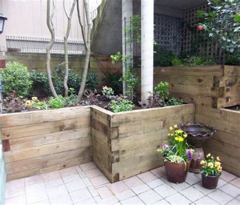 wood planters retaining walls and railroad ties on pinterest