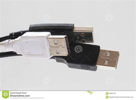 black and white usb cables royalty free stock image