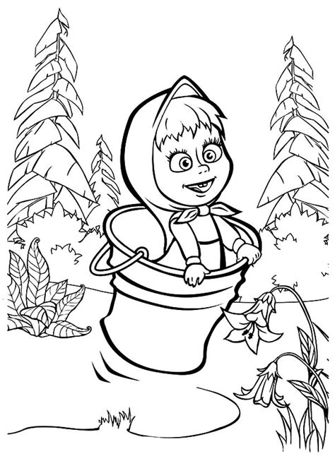 coloring pages masha and bear adventure of a tiny girl her bear masha the bear 17