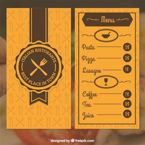 menu layout vector free download orange restaurant menu vector free download