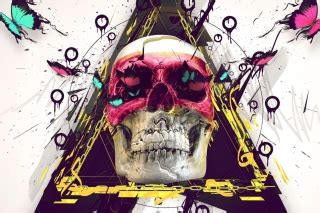City Bch Skull Butterly Biru Cyan Size S colours wallpaper for android