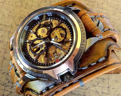 reloj brazalete cuero esqueleto de los hombres reloj steunk cuero reloj