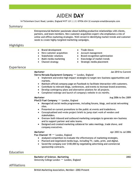 marketing resume template marketing resume exles marketing sle resumes