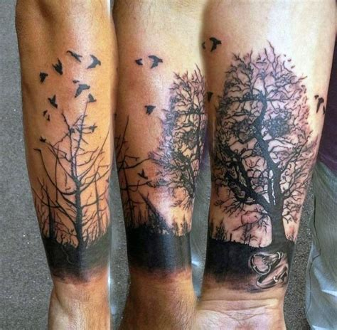 dramatic painted black ink old dark forest with birds