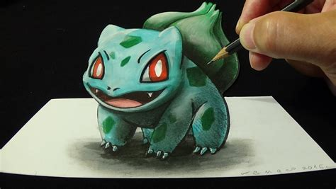 how to make 3d illusion l how drawing 3d bulbasaur 001 optical illusion how to